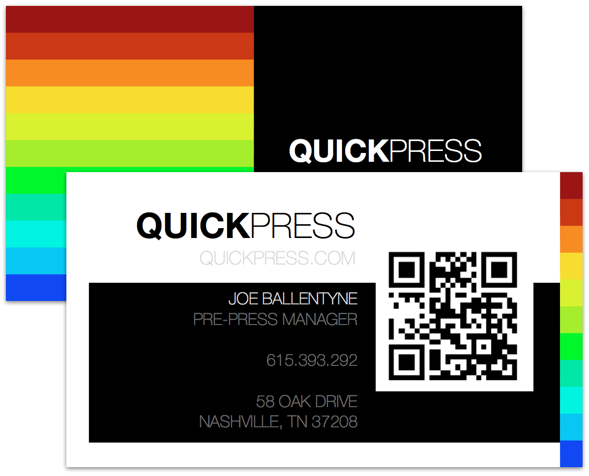 Business card example with QR code.