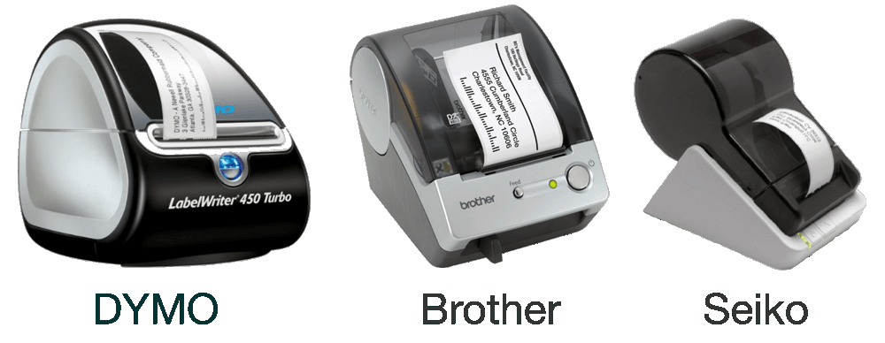 Photos of label printers.