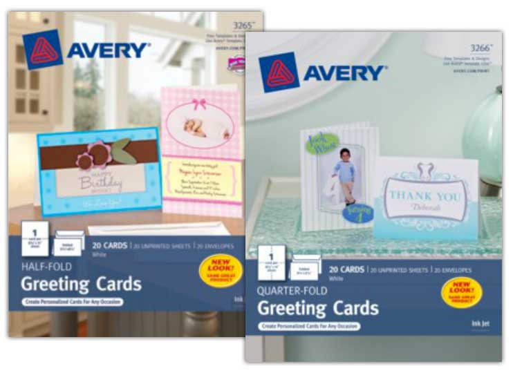 Avery card packaging.