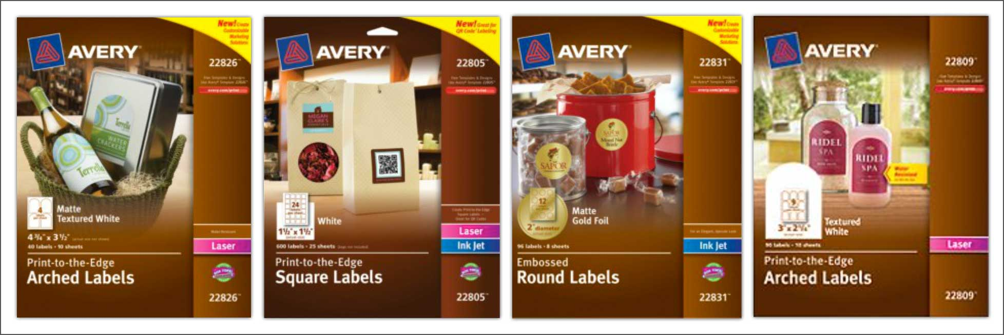 Avery marketing labels box shots.